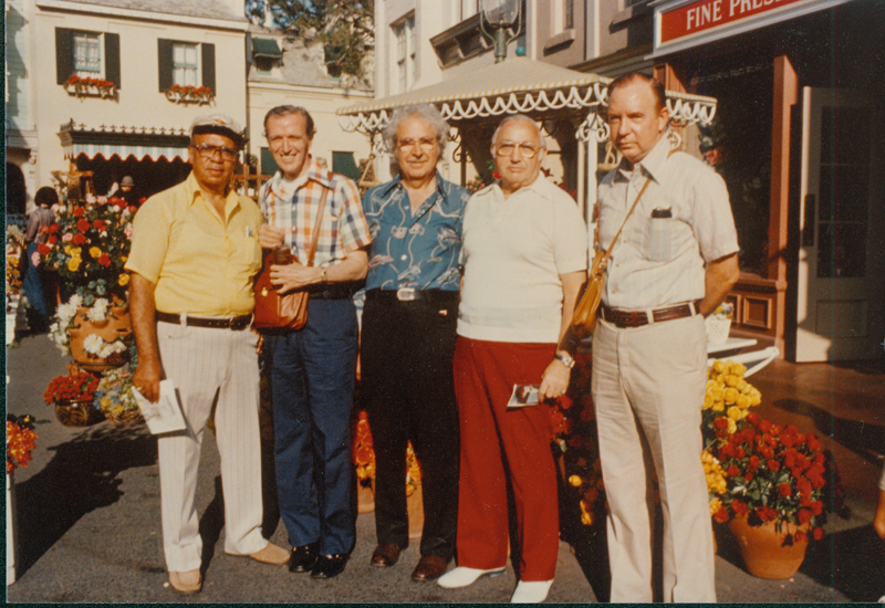 Max Gundy and Jack Bloch (red pants) with friends at Disneyland. August 13, 1977.