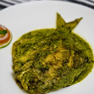 Pomfret (রূপচাঁদা) Cooked in Cilantro-Coconut Gravy