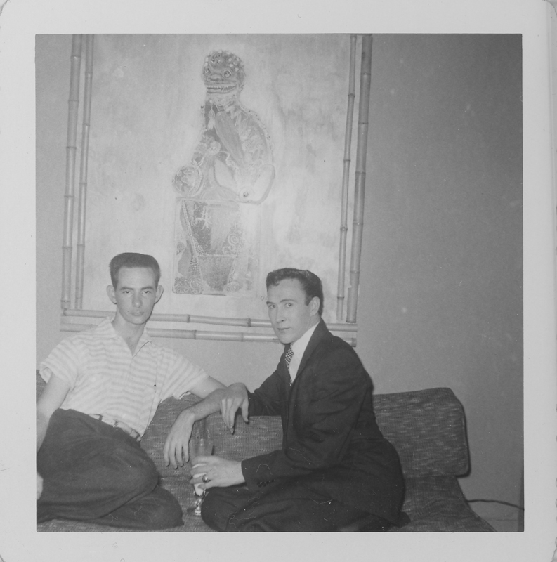 Edgar Sandifer (left) and Jim Lambert together on the sofa. 1960.