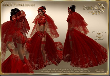 DANIELLE Grace Bridal Fire Red'