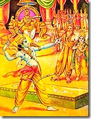 Rama lifting Lord Shiva's bow