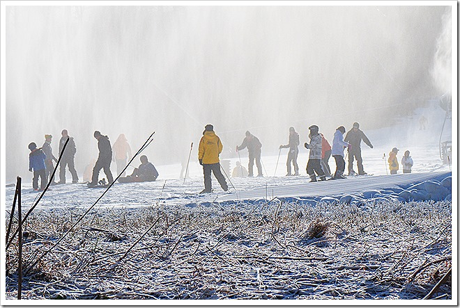 people skiing in Poconos