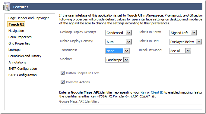 Specifying default configuration settings for the Touch UI application.