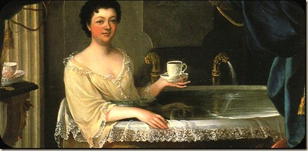 Anonyme, Femme au bain avec une tasse de chocolat