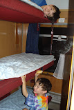 Our sleeping car on the overnight train from Prague to Budapest