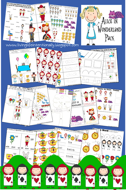 FREE Alice in Wonderland Worksheets for Kids  - So many fun ways to practice prewriting, counting, telling time, opposites, adding, and more for preschool, prek, kindergarten, first grade (disney)