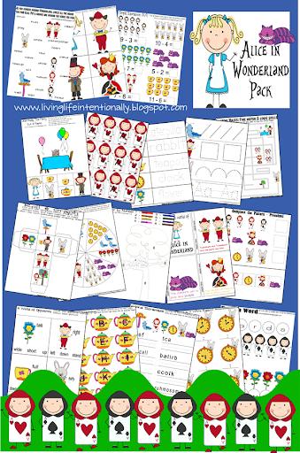 math worksheet : free alice in wonderland pack : Kindergarten Homeschool Worksheets
