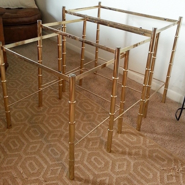 kainaible brass bamboo tables