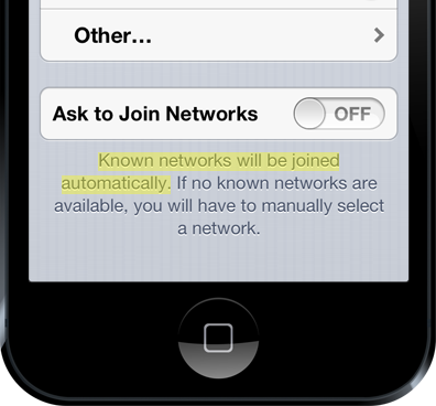 "iPhone stating that ""Known networks will be joined automaticaly"""