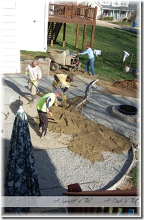 Stamped concrete patio cement layer  {A Sprinkle of This . . . . A Dash of That}