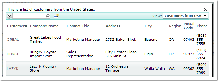 Customer Company Name lookup using the 'Customers from USA' view.
