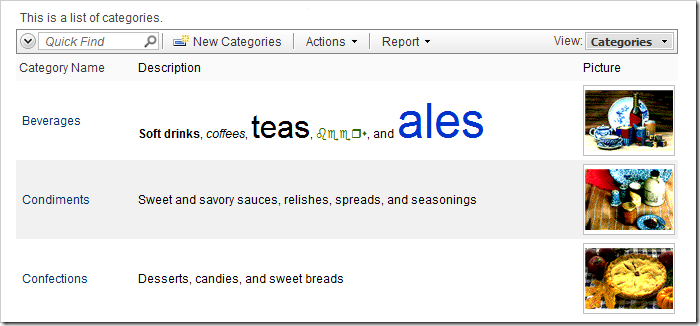 Description field value rich text styling preserved in grid view.