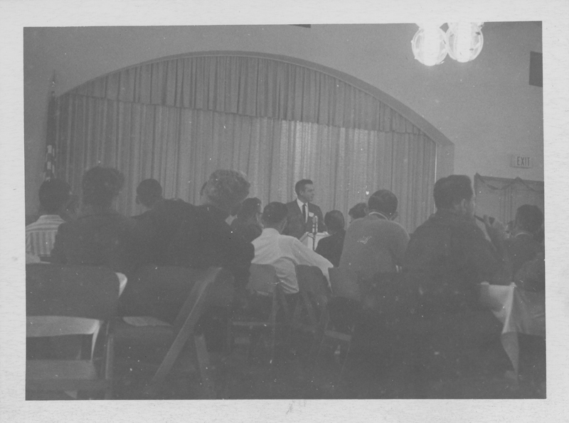 Used as an image in the January 1964 issue of ONE Magazine to complement an article on the September 1963 East Coast Homophile Organizations Conference in Philadelphia which drew prominent homosexual activist groups and psychologists. However the image itself  is dated from January 1963 and may represent the ONE Incorporated annual meeting and/or Midwinter Institute.