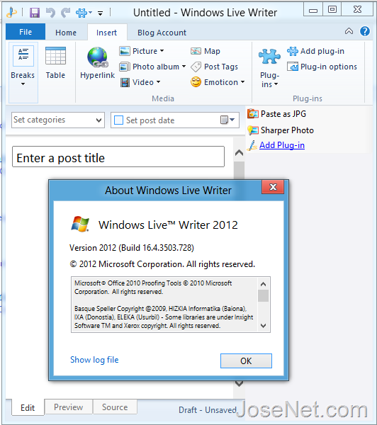 Windows Live Writer 2012 Plugin List Bar