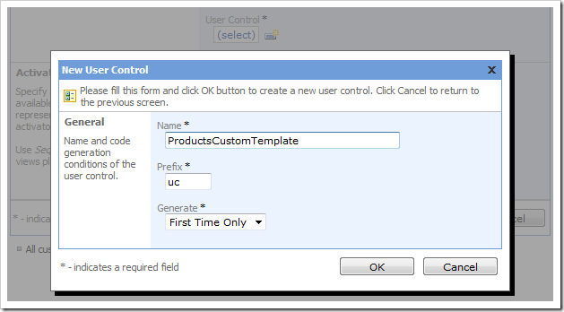 New 'ProductsCustomTemplate' user control in Code On Time Designer