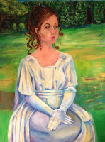 Secret Garden Portrait, commission for Monson Arts Council play, 3'x4', Acrylic on canvas