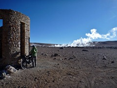 Setting up camp at 4900m in 60km/hr winds near geyser Sol de Manana, Southwestern Bolivia.