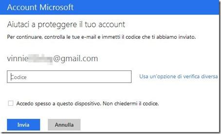 Microsoft immettere codice verifica a due passaggi