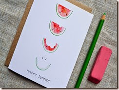 Happy Summer Smiling Watermelon Card