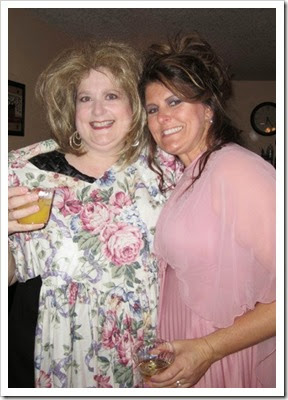 This is me and Jenn K at a bridesmaids party with ugly hair. Jenn K played the part of Mother of the Bride. :)