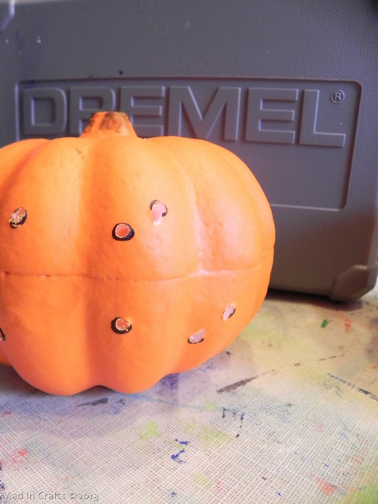 Drilled Constellation Pumpkins - dremel out holes