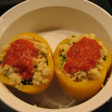 Sweet Bell Peppers W/ Couscous, Spinach & Parmesan