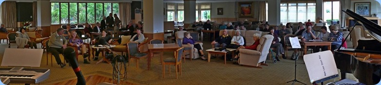 A panoramic of the audience. At the peak there were some 90 people enjoying the day. Photo courtesy of Dennis Lyons.