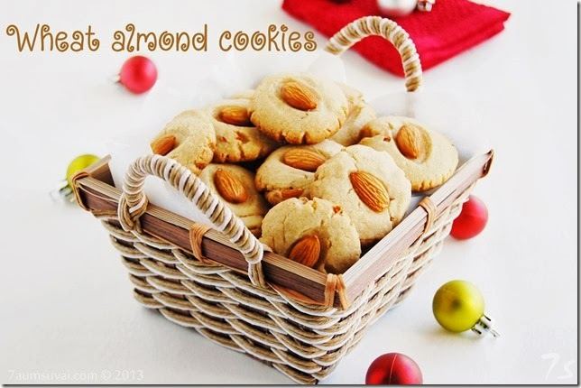 Eggless wheat almond cookies