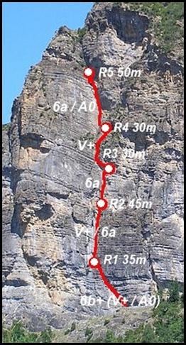 Peña Solano - Diedro Sajuma 190m 6b  (6a A0 Oblig)