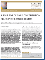 A ROLE FOR DEFINED CONTRIBUTION PLANS IN THE PUBLIC SECTOR