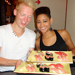 after party Tuna Sushi feast with Tiffany & Krystal from the Dream Girls Broadway play in Tokyo, Tokyo, Japan