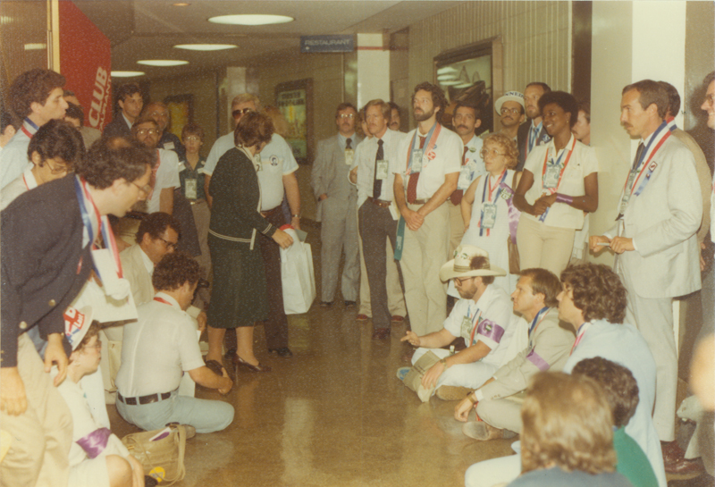 The Lesbian & Gay Caucus at the 1980 Democratic National Convention at Madison Square Garden in New York City. August 11- 14, 1980.