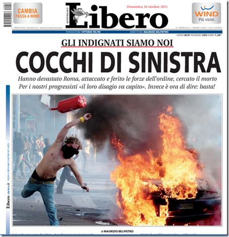 La prima pagina di oggi di 'Libero'