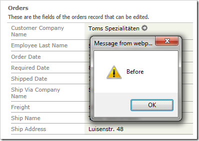 Alert displaying 'Before' when user navigates to the form view of an order.