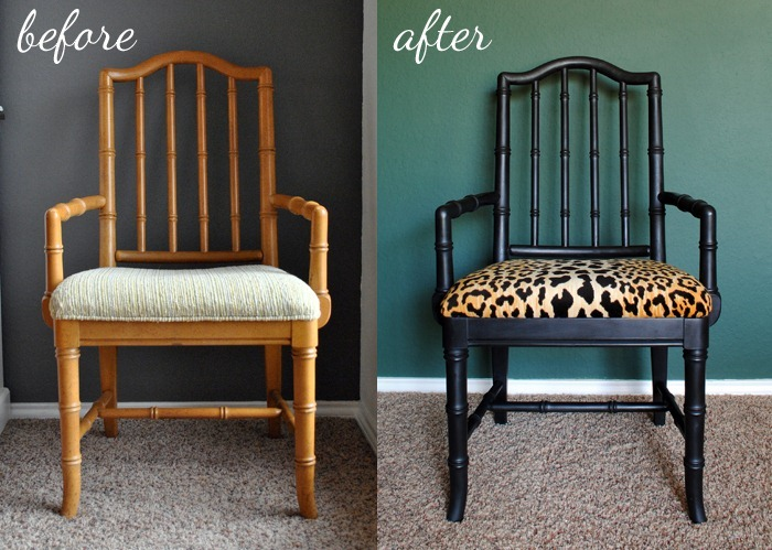 dining room updates black and leopard velvet chairs20