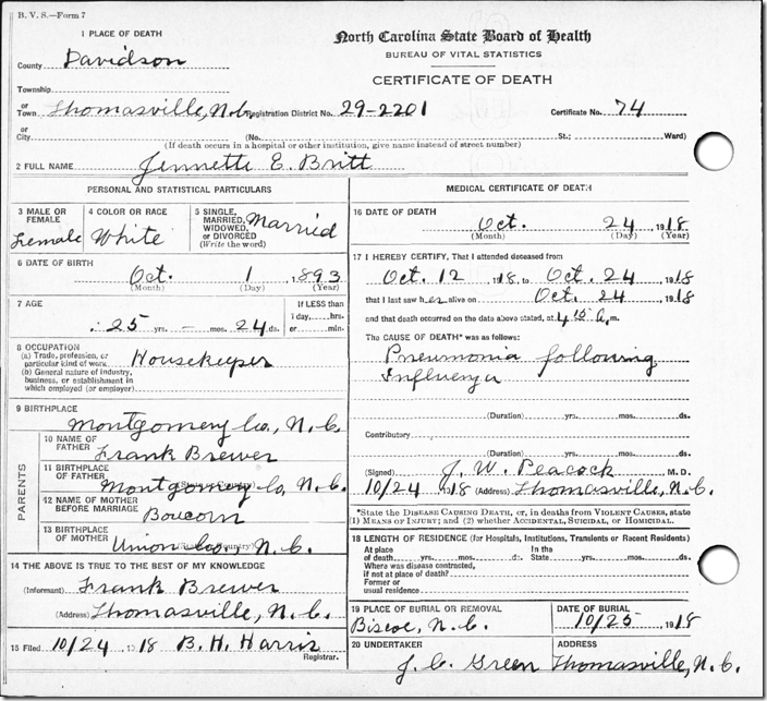 FamilySearch.org copy, death certificate for Jennette E Britt