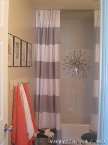 Gray Striped Shower Curtain/ Coral Towels