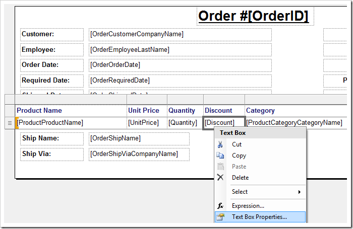 Activating 'Text Box Properties' context menu option for 'Discount' field.