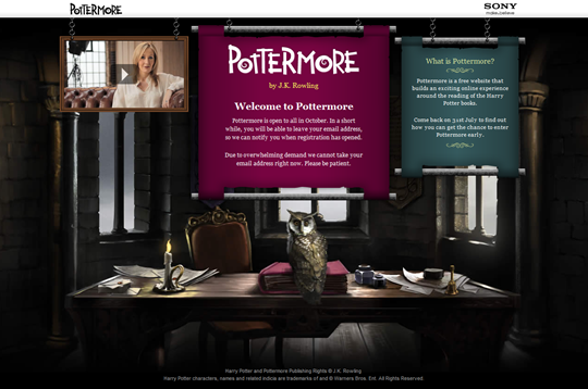 Pottermore  Welcome to Pottermore