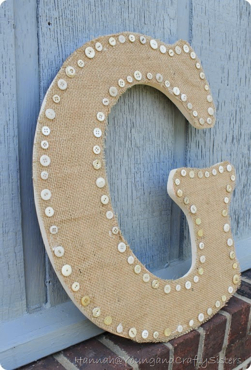 burlap and button monogrammed letter 6