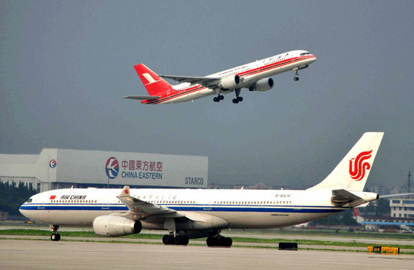 Shanghai Hongqiao International Airport. Eight Chinese airlines are facing possible fines for not paying for their emissions during flights within countries of the European Union. Yan Daming / China Daily
