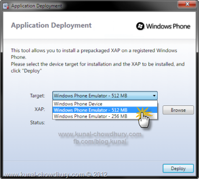Windows Phone Application Deployment - Select the Device