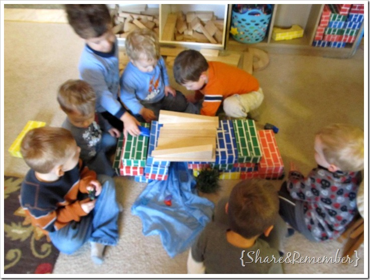 block play in preschool building bridges