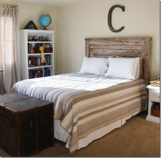 friday feature--rustic wood headboard