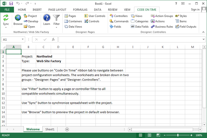 Project loaded in Microsoft Excel.
