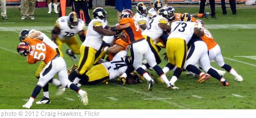 'Defense manhandling the Steelers, Broncos vs Steelers 2012' photo (c) 2012, Craig Hawkins - license: http://creativecommons.org/licenses/by-nd/2.0/