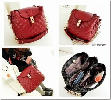 SY 844 Red Maroon (186.000) - PU Leather, 30 x 31 x 17, tali panjang