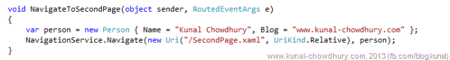 Passing the data object to Windows Phone Navigation Service