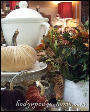 tureen, pumpkins and flowers