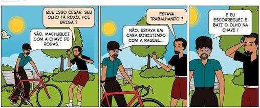 César com o olho roxo - Tirinhas Blog de CAMPEÃO